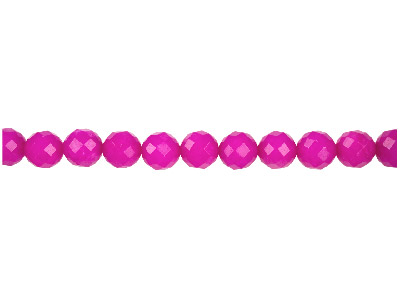 Dyed Pink Jade Faceted Semi         Precious Round Beads 10mm, 1640cm Strand