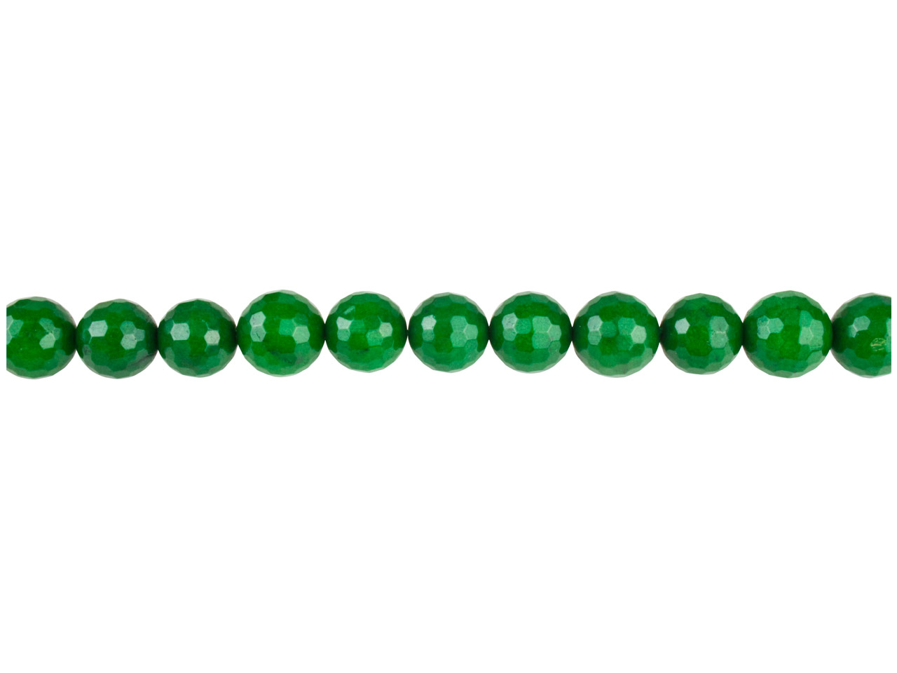 Dyed Green Jade Faceted Semi       Precious Round Beads 6mm, 16