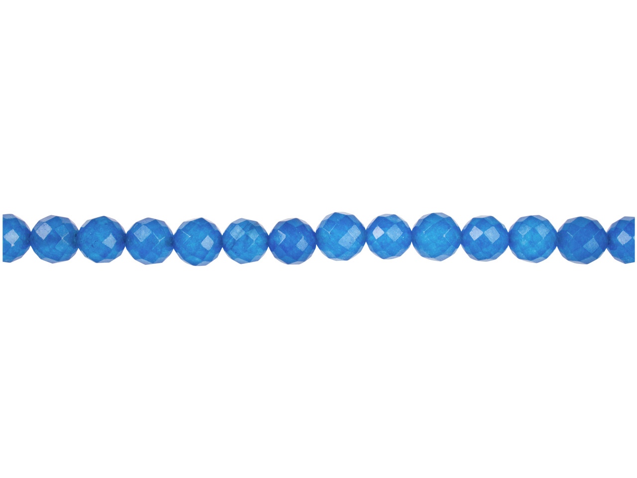 Dyed Blue Jade Faceted Semi        Precious Round Beads 6mm, 16