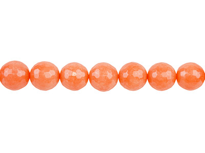 Dyed Orange Jade Faceted Semi      Precious Round 8mm Beads, 1640cm Strand