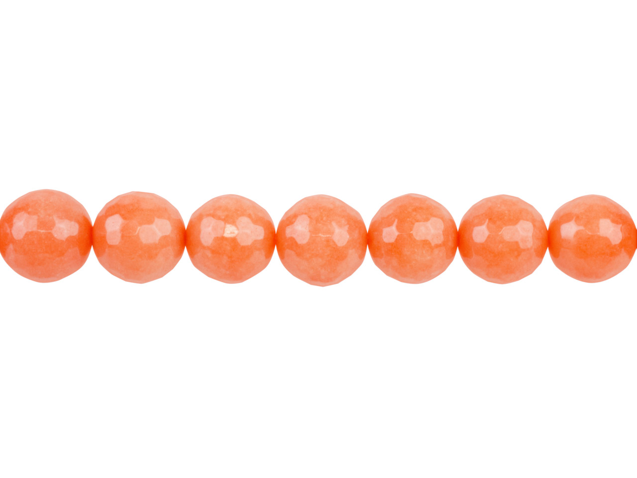 Dyed Orange Jade Faceted Semi      Precious Round 8mm Beads, 16
