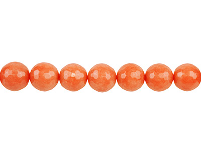 Dyed Orange Jade Faceted Semi      Precious Round 14mm Beads         1640cm Strand