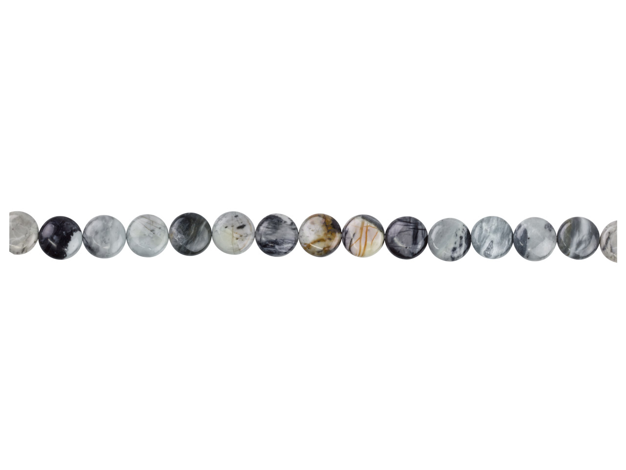 Picasso Jasper Semi Precious Coin  Beads 16mm, 16