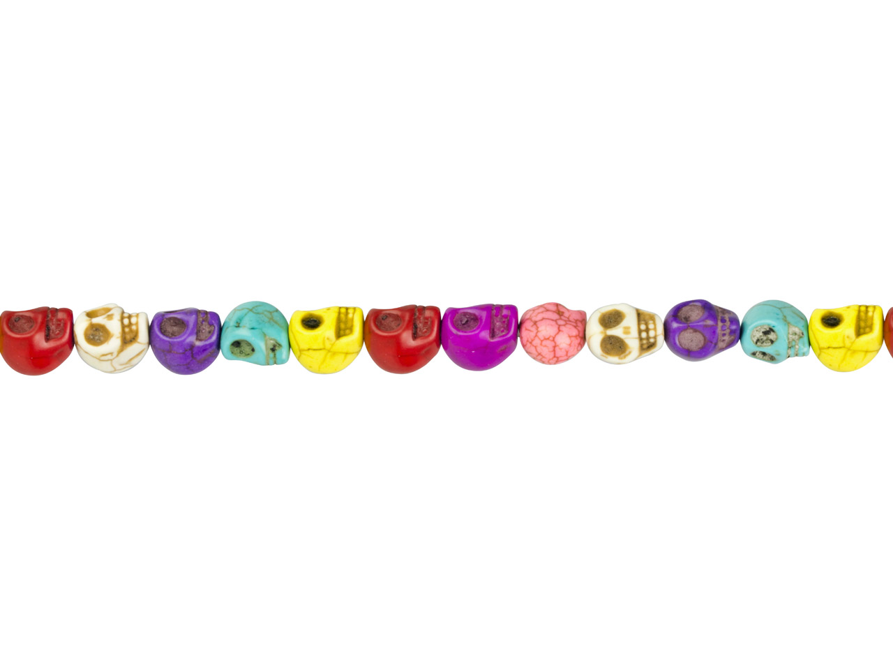 Multi Colour Magnesite Skull Beads, 12mm, 16