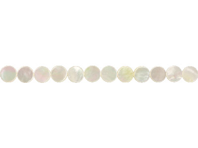 Mother Of Pearl Semi Precious Flat Round Beads, 12x3mm, 1640cm      Strand