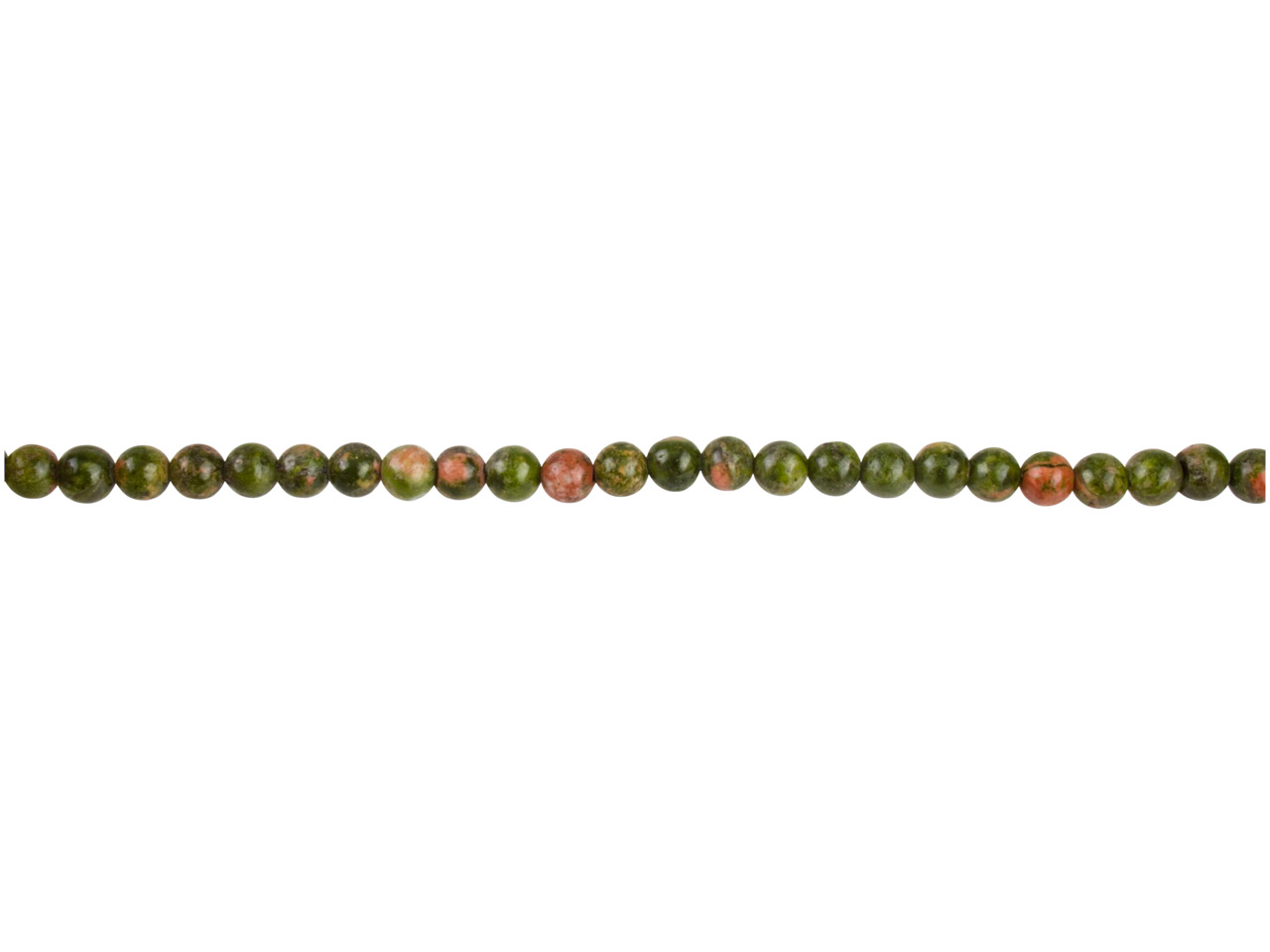 Unakite Semi Precious Round Beads  4mm, 16