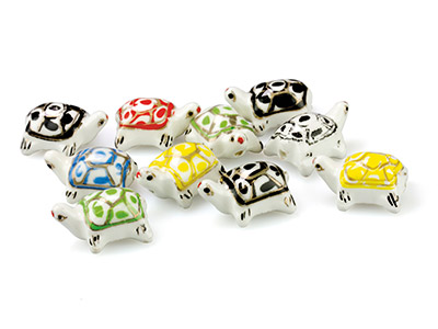 Ceramic Turtles, 23x17x11mm, Hand  Painted Pack of 10
