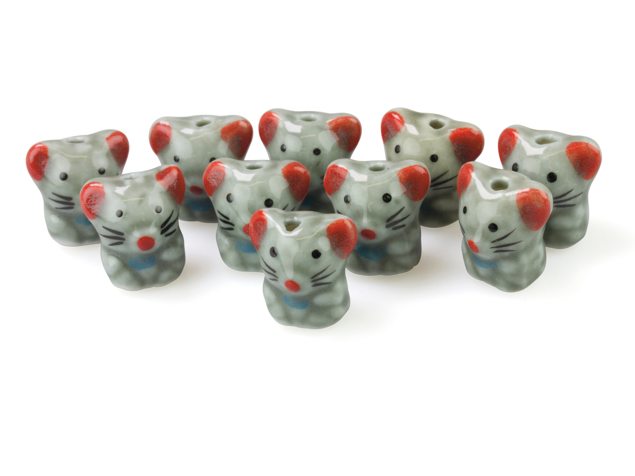 Ceramic Mice, 17x16x13mm, Hand     Painted, Pack of 10