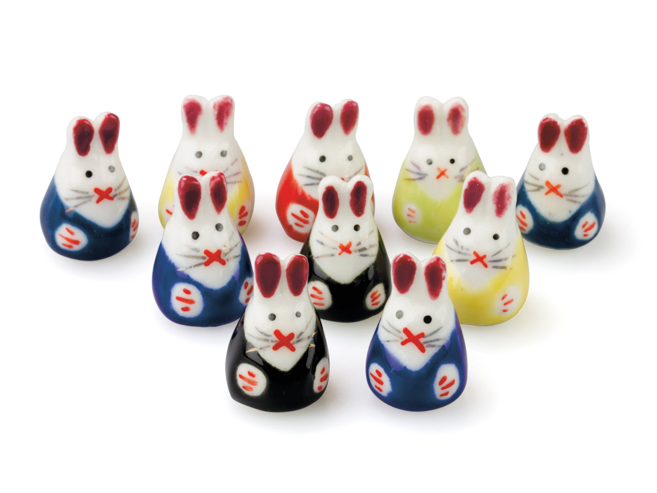 Ceramic Rabbits, 15x23x16mm, Hand  Painted, Pack of 10