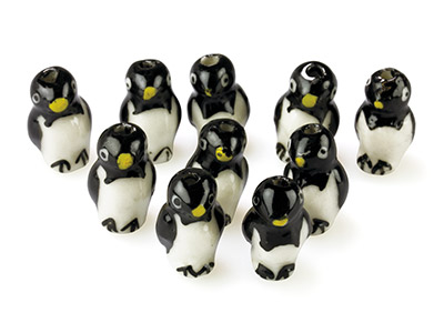 Ceramic Plain Penguins, 20x10x12mm, Hand Painted, Pack of 10