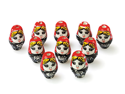 Ceramic Russian Dolls, 21x13x13mm, Hand Painted, Pack of 10