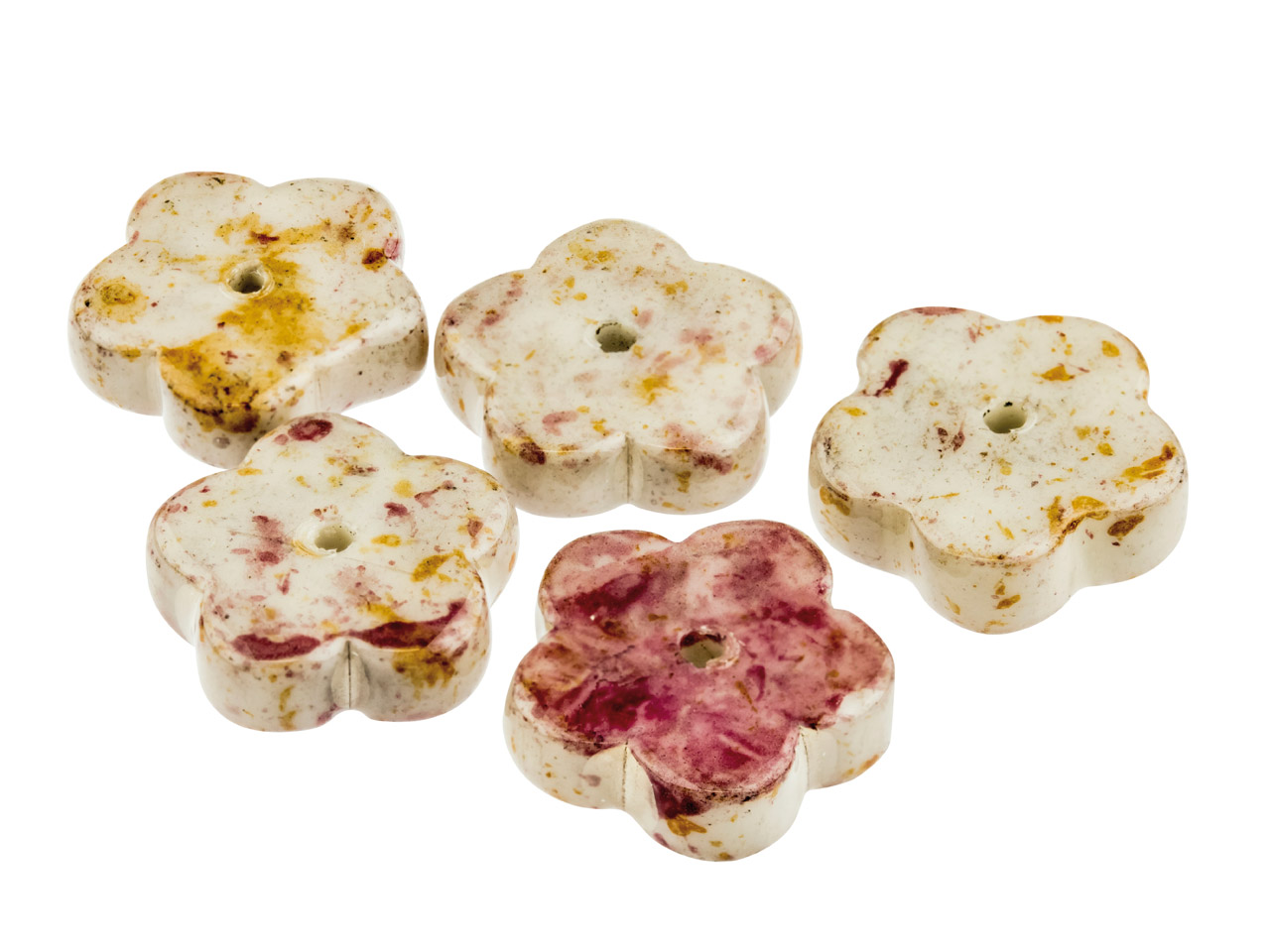 Ceramic Flat Flower Beads, Stone,  4x12mm, Pack of 5