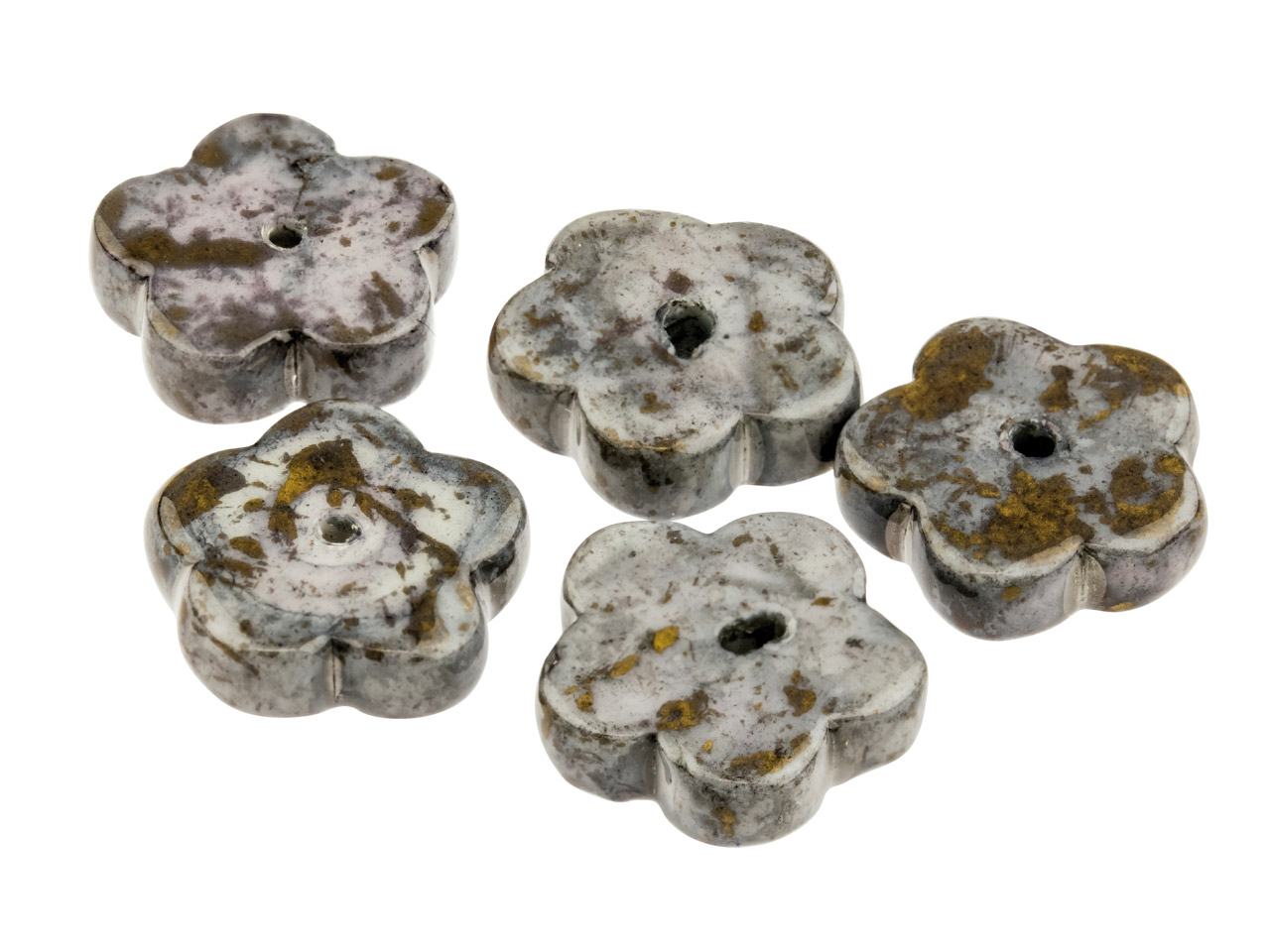 Ceramic Flat Flower Beads, Dark    Grey, 4x12mm, Pack of 5