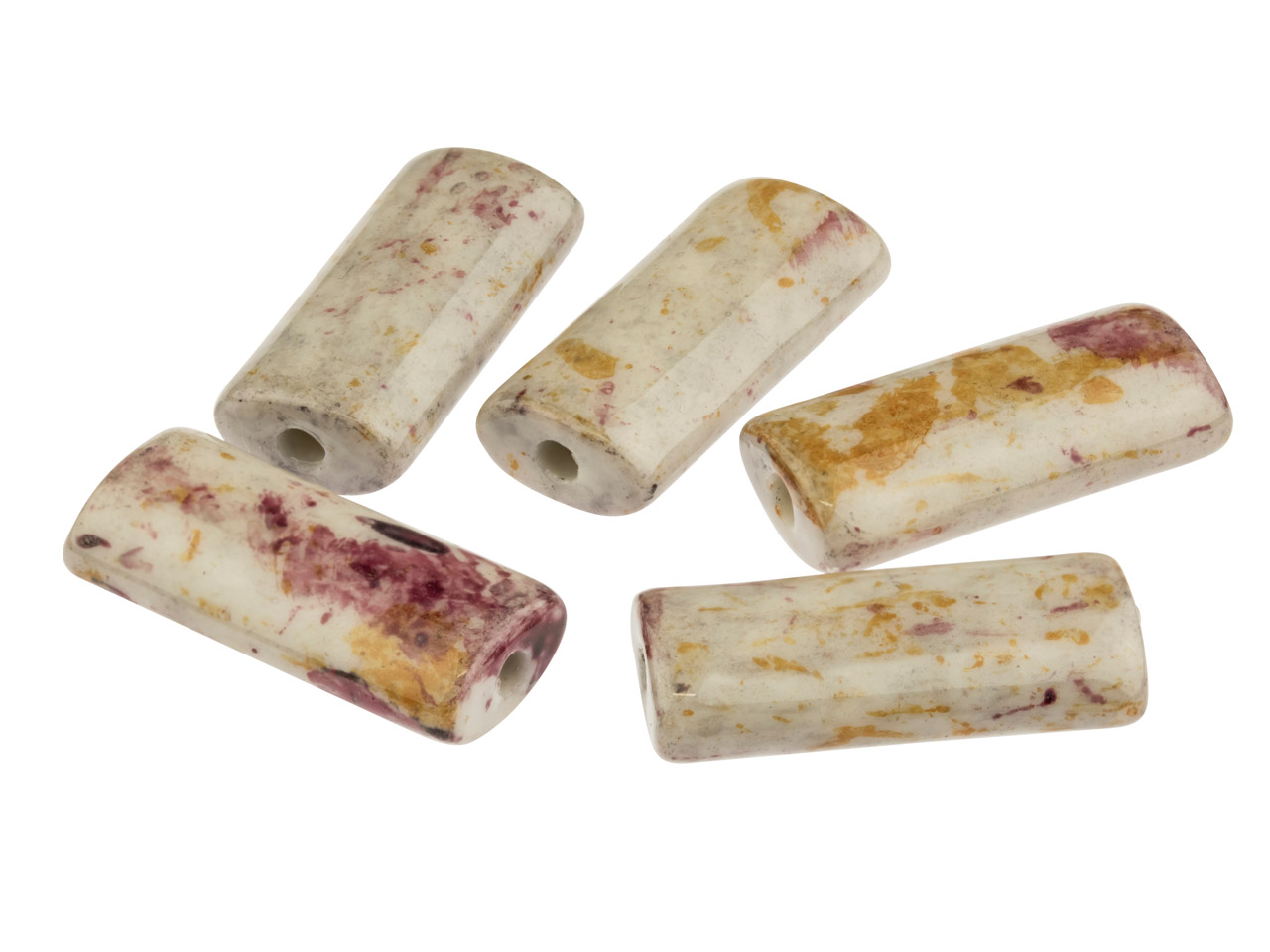 Ceramic Flat Cylinder Beads, Stone, 5x9x20mm, Pack of 5