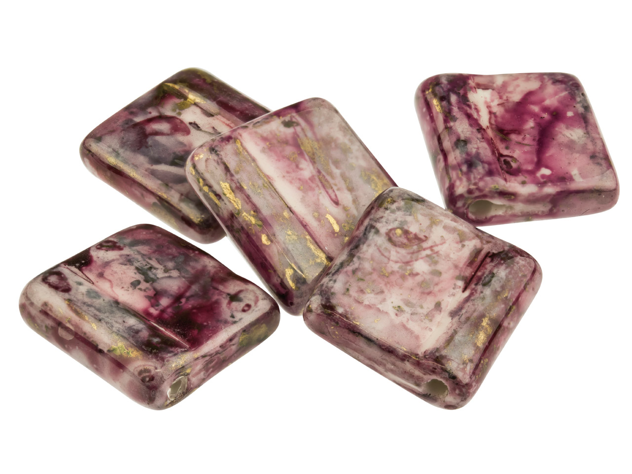 Ceramic Tile Beads, Burgundy, Top  Drilled, 14x16mm, Pack of 5