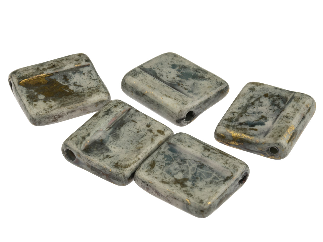 Ceramic Tile Beads, Dark Grey, Top Drilled, 14x16mm, Pack of 5