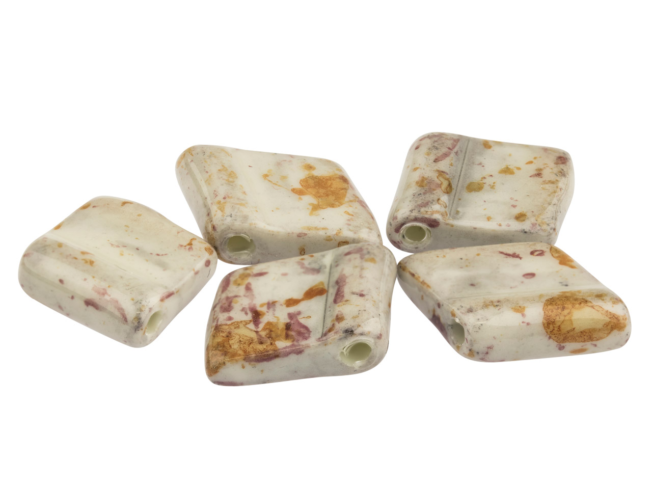 Ceramic Diamond Tile Beads, Stone, 12x12mm, Pack of 5