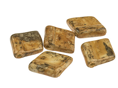 Ceramic-Diamond-Tile-Beads,-Brown,-12...