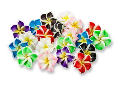 Fimo Flower Beads, 15x9mm, Mixed   Colours, Pack of 20