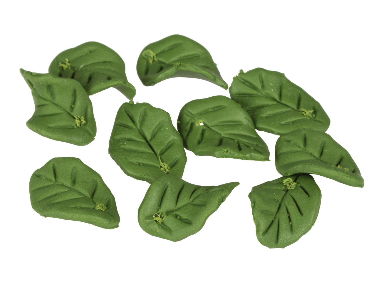 Polymer Clay Leaf Beads, Green,    15x10mm, Pack of 10