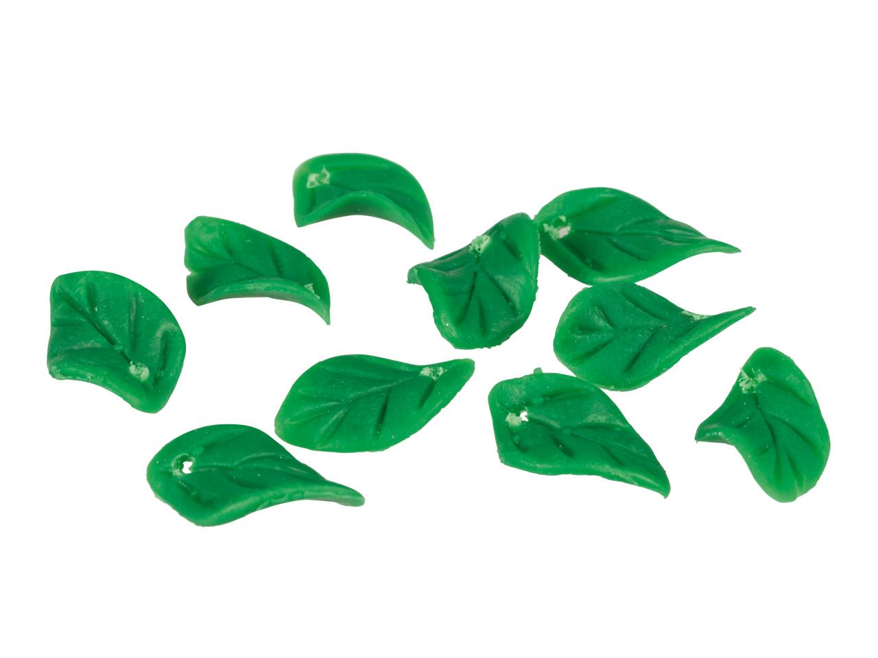 Polymer Clay Leaf Beads, Jade      Green, 12x8mm, Pack of 10