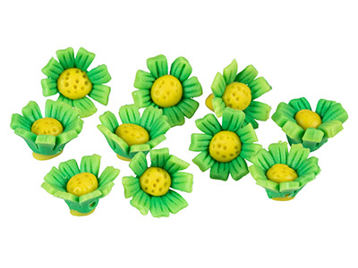 Polymer Clay Sunflower Beads,      Green, 12mm, Pack of 10