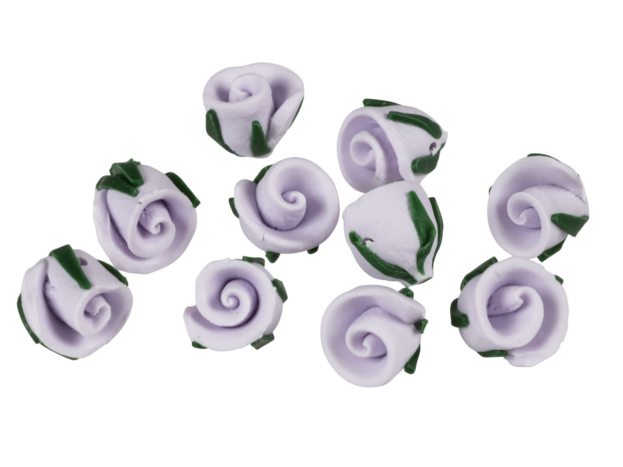 Polymer Clay Rosebud Beads, Lilac, 8mm, Pack of 10