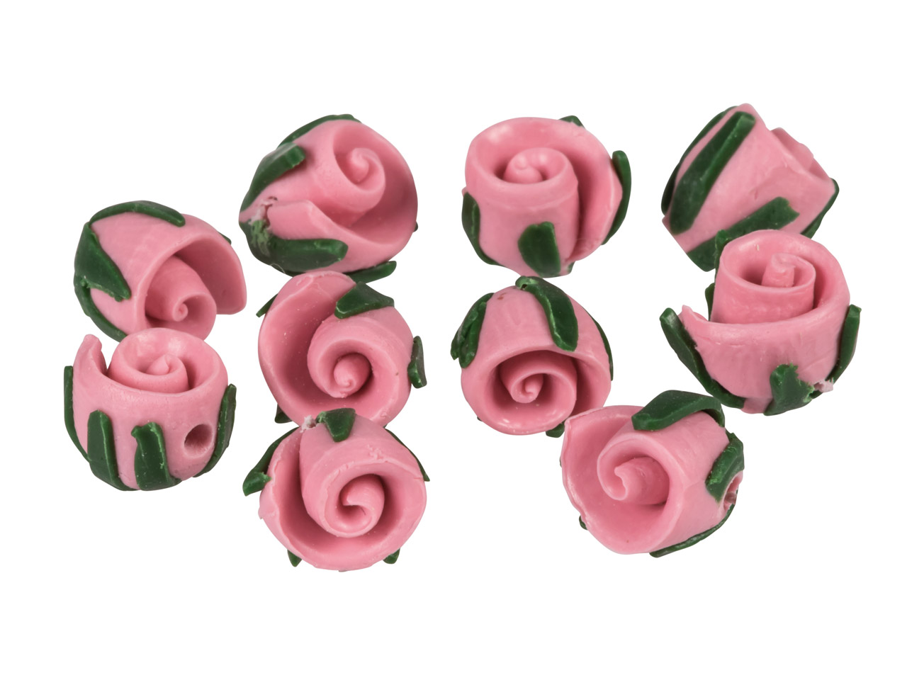 Polymer Clay Rosebud Beads, Pink,  8mm, Pack of 10