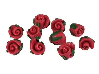 Polymer-Clay-Rosebud-Beads,-Red,---8m...