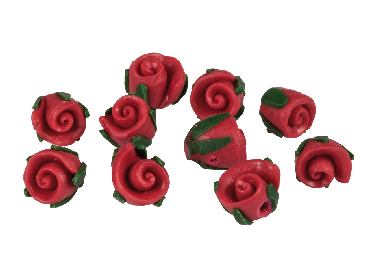 Polymer Clay Rosebud Beads, Red,   8mm, Pack of 10