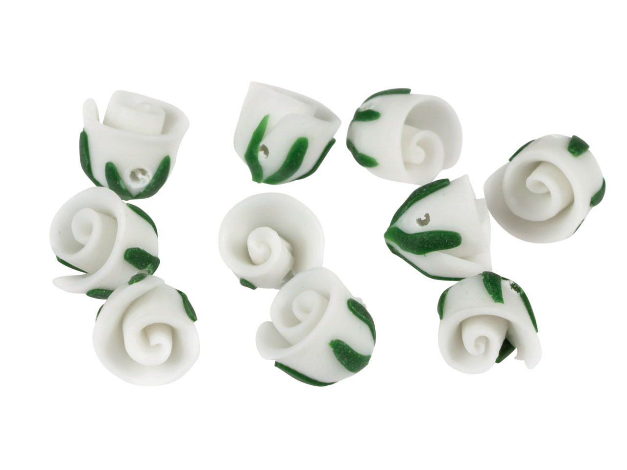 Polymer Clay Rosebud Beads, White, 8mm, Pack of 10