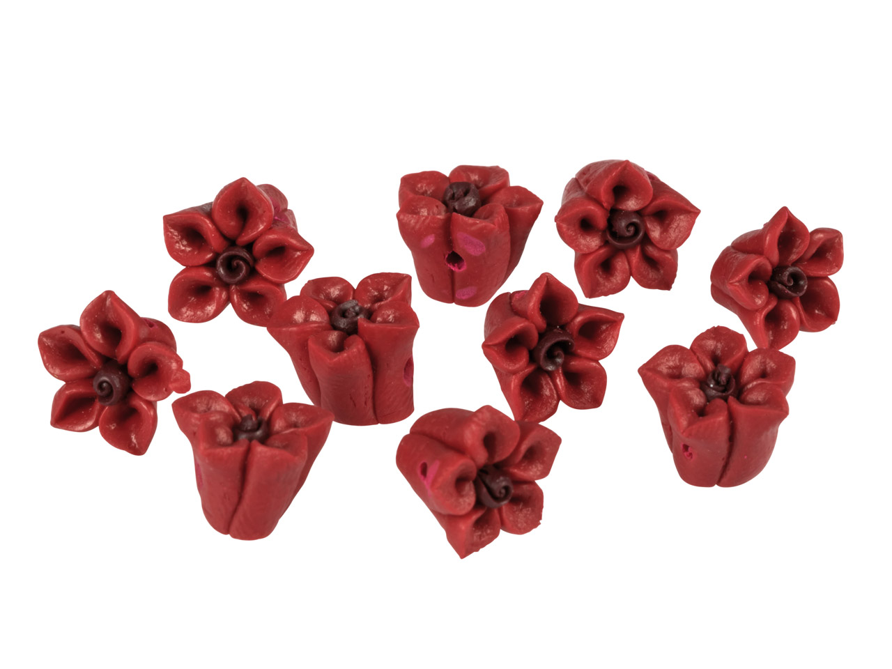Polymer Clay Flower Beads, Red,    10mm, Pack of 10