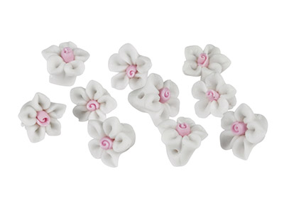 Polymer-Clay-Flower-Beads,-White,--10...