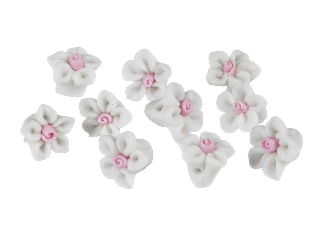 Polymer Clay Flower Beads, White,  10mm, Pack of 10