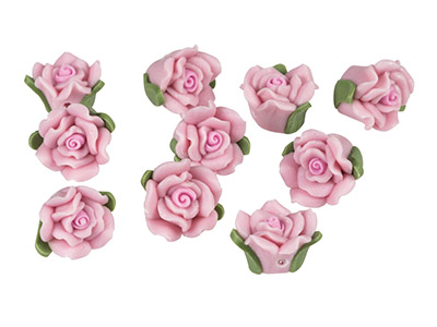 Polymer Clay Rose Beads, Baby Pink, 12mm, Pack of 10