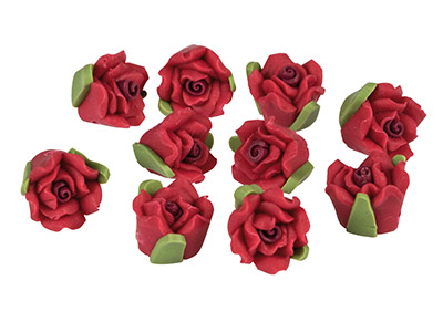 Polymer Clay Rose Beads, Cherry    Red, 12mm, Pack of 10