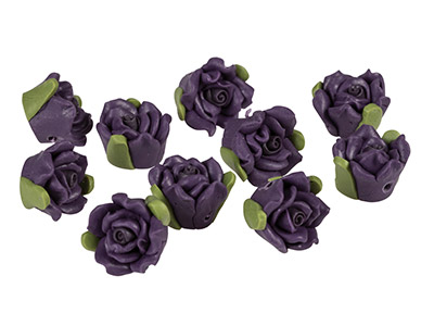Polymer Clay Rose Beads, Purple,   12mm, Pack of 10