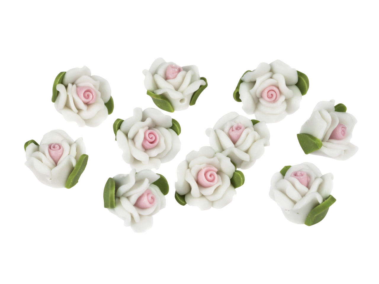 Polymer Clay Rose Beads, White,    12mm, Pack of 10