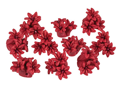 Polymer Clay Triple Flower Beads,  Dark Rose, 16mm, Pack of 10