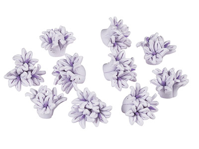 Polymer Clay Triple Flower Beads,  Lilac, 16mm, Pack of 10