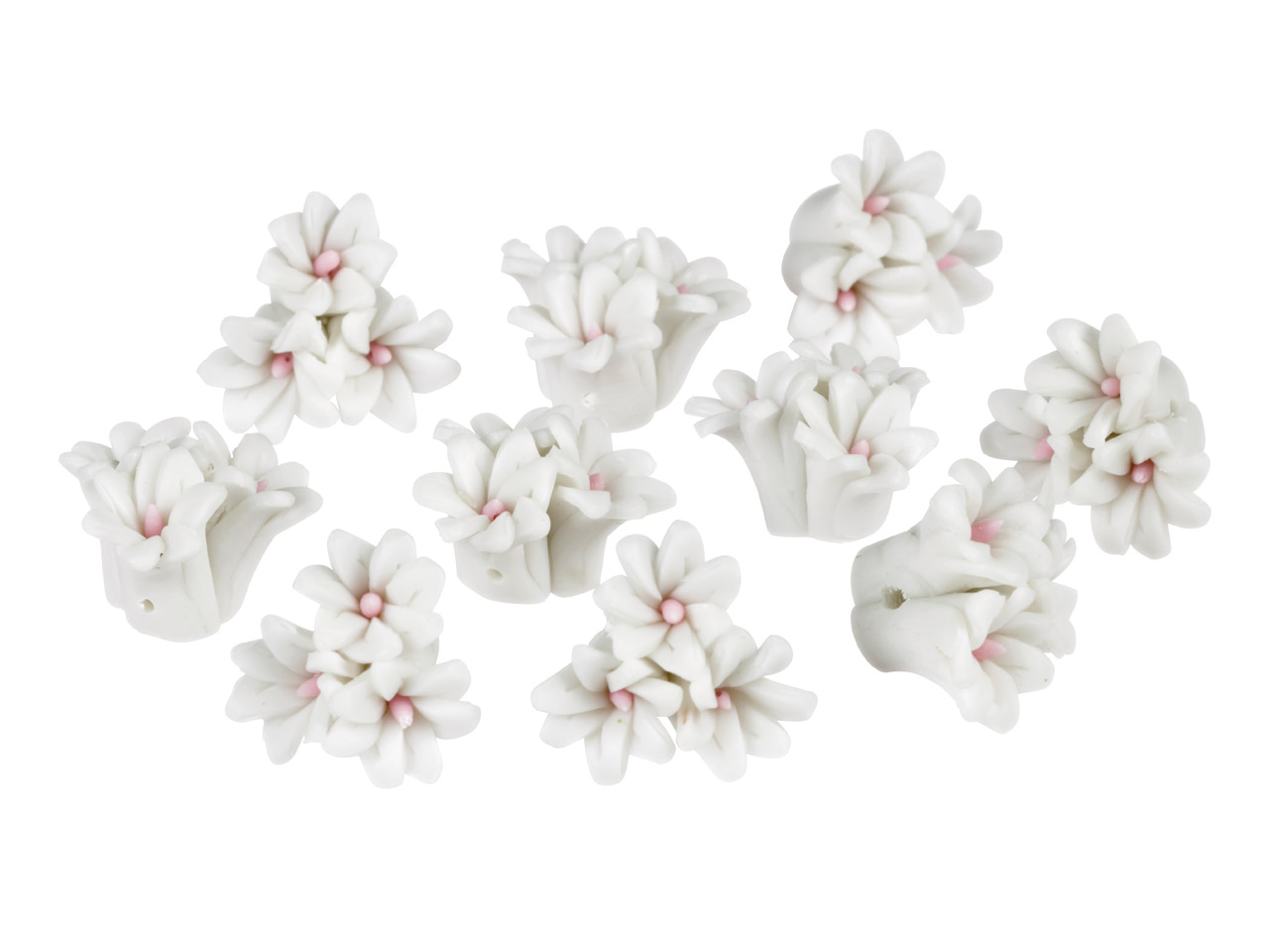 Polymer Clay Triple Flower Beads,  White, 16mm, Pack of 10