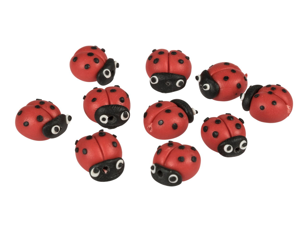 Polymer Clay Ladybird Beads, 11mm, Pack of 10