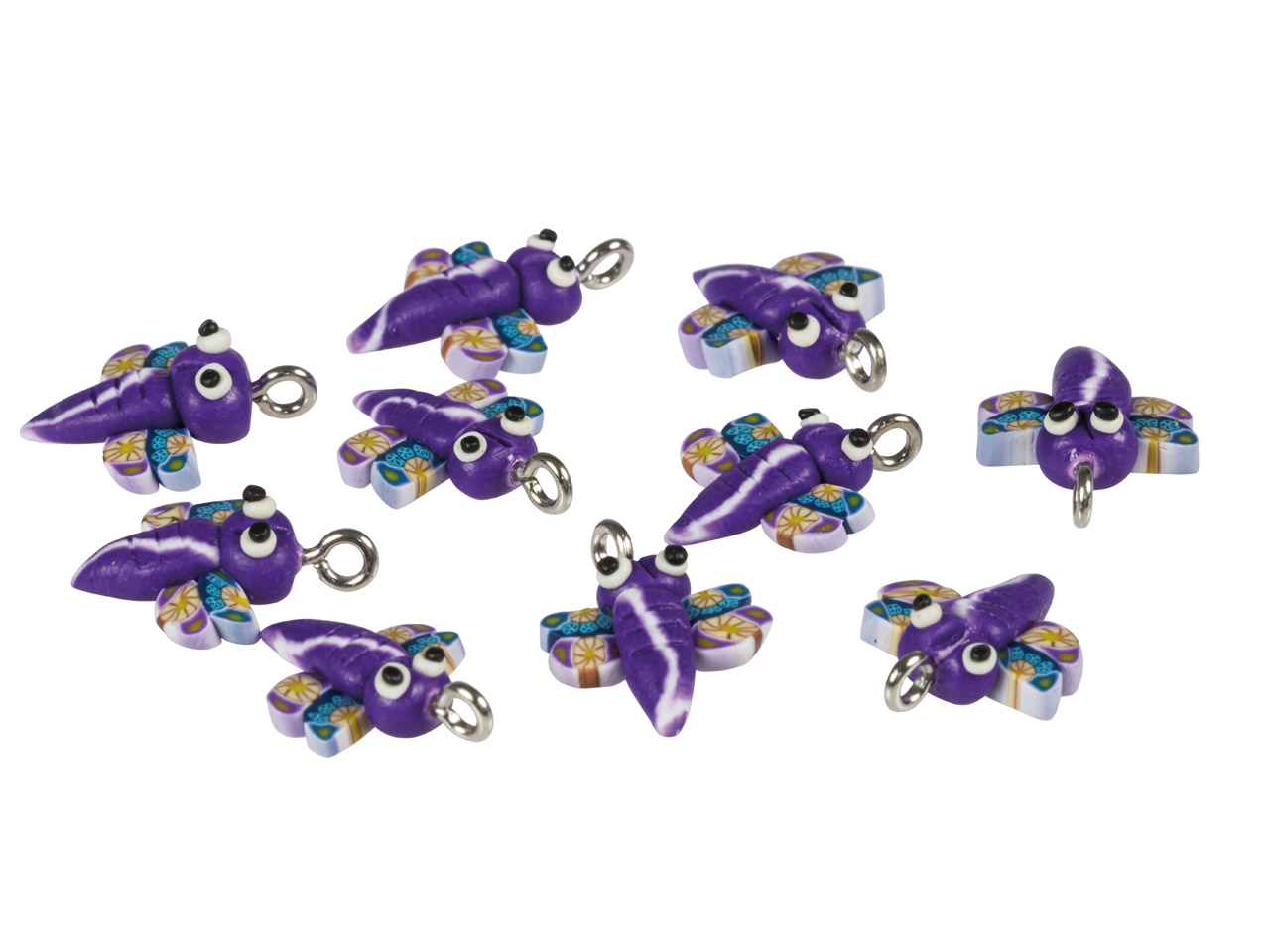 Polymer Clay Dragonfly Beads With  Loop, 13mm, Pack of 10
