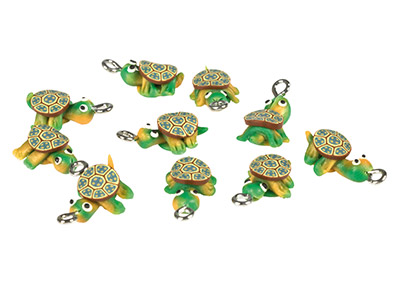 Polymer Clay Tortoise Beads With   Loop, 15mm, Pack of 10
