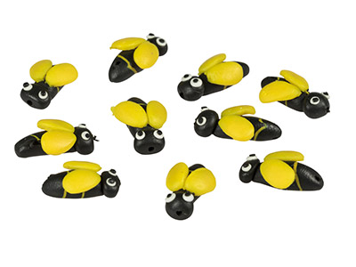 Polymer Clay Bee Beads, 14mm,      Pack of 10