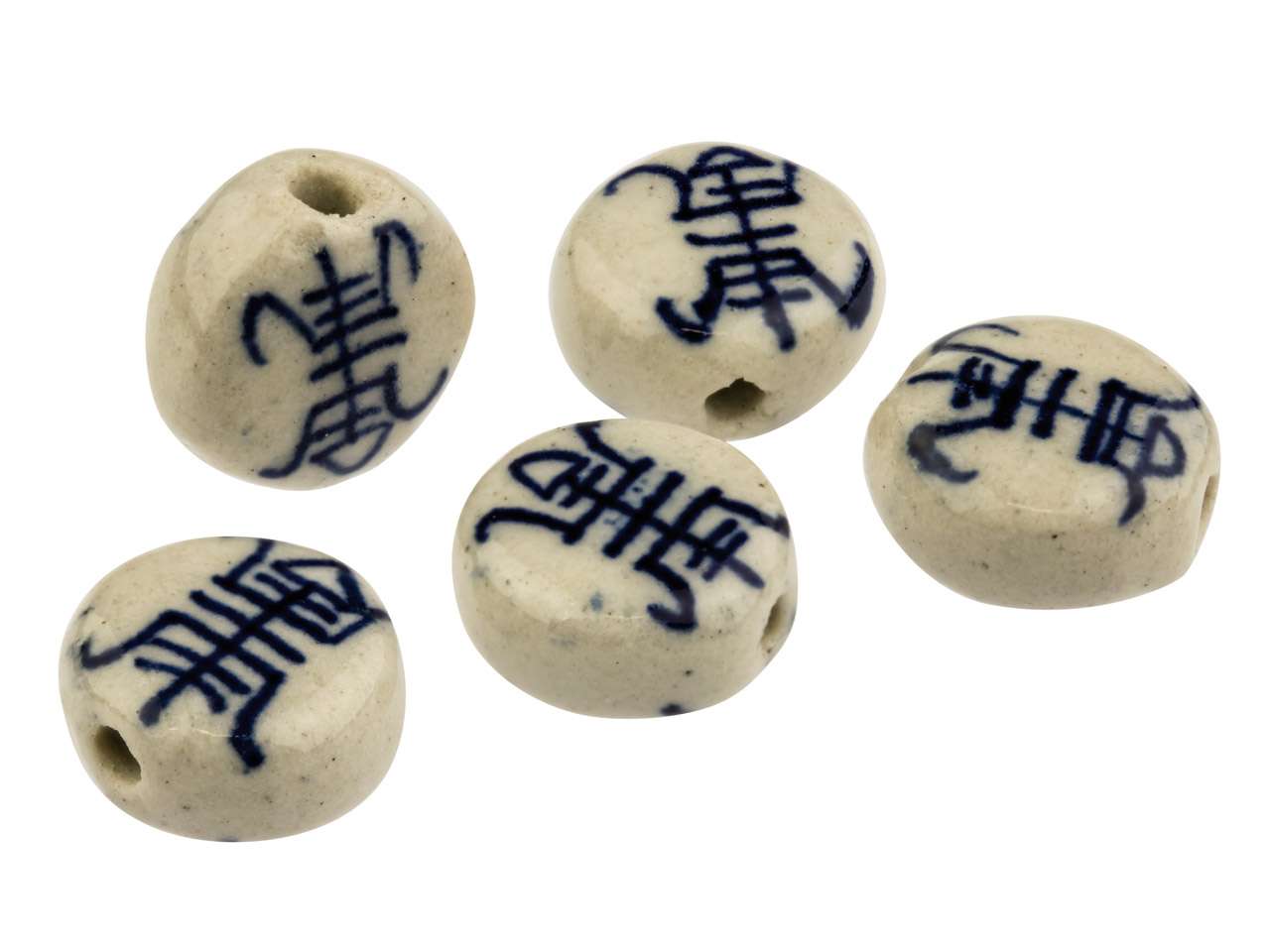 Porcelain Longevity Disc Beads Blue And White, 10mm, Pack of 5