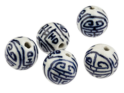 Porcelain Round Beads, Blue And    White, 14mm, Pack of 5