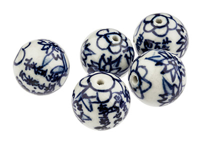 Porcelain-Round-Beads,-Blue-And----Wh...