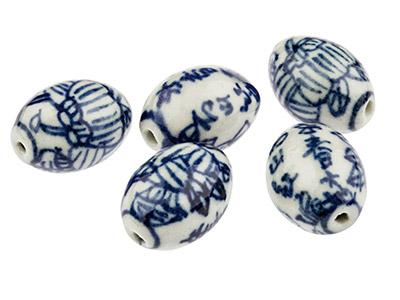 Porcelain Oval Beads, Blue And     White, 18x14mm, Pack of 5