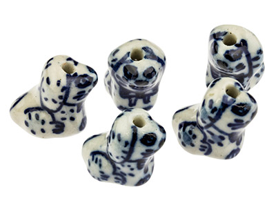 Porcelain Dog Beads, Blue And      White, 14mm, Pack of 5